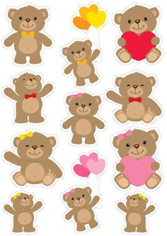 Felt Crafts, Diy And Crafts, Crafts For Kids, Paper Crafts, Journal Stickers, Planner Stickers, Moldes Para Baby Shower, Easy Valentine Crafts, Bear Valentines