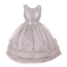 RainKids Little Girls Silver Sequin Lace Organza Overlaid Flower Girl Dress 2