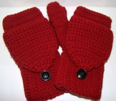Convertible Fingerless Mittens in Burgundy Crochet! I keep losing, now I won't have to worry anymore!