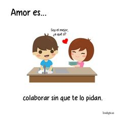 Ilustraciones de LoveByte explicando que es el amor. Ayudar sin que lo pidas