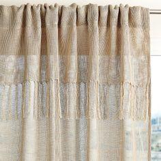 Fringed Linen Window Panel//