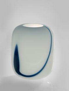 "Large Vase ""Blues"" Timo Sarpaneva blue and white opal, turned-mold blown, base cut Iittala, Finland, 1985 32 x 24cm d 900"