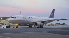 United Airlines 1999 Airbus 320 N457UA c/n 1146. Dusk, San Francisco Airport. When the cows come home...