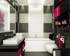 pink and black bathroom design - Yahoo Image Search Results Teenage Bathroom, Teen Bathrooms, Amazing Bathrooms, Luxurious Bathrooms, Small Bathrooms, Teen Room Designs, Girl Bedroom Designs, Striped Accent Walls, Bathroom Renovations