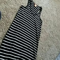 Joe fresh black white stripe tank dress Adorable comfortable and new without tags black and white striped tank dress. Size extra small but could definitely fit up to a medium Joe Fresh Dresses Midi