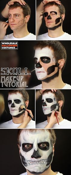 Are you looking for ideas for your Halloween make-up? Navigate here for creepy Halloween makeup looks. Creepy Halloween Makeup, Halloween Make Up, Halloween Costumes, Vintage Halloween, Skull Makeup Tutorial, Makeup Stencils, Skull Face Paint, Makeup Designs, Costume Makeup