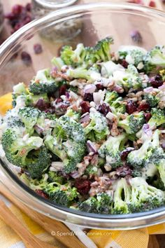 Broccoli Salad is a quick summer salad recipe that everyone always LOVES! Fresh and colorful broccoli, dried cranberries, sunflower seeds, and bacon bits are tossed in a creamy homemade dressing. This is the perfect potluck dish; it will be raved about by everyone one long after its gone! #spendwithpennies #summersalad #easyrecipe #simplerecipe #withcranberries #healthyrecipe #healthyrecipe #creamydressing #homemadedressing Best Broccoli Salad Recipe, Easy Broccoli Salad, Broccoli Cauliflower Salad, Best Salad Recipes, Fresh Broccoli, Summer Salad Recipes, Broccoli Recipes, Healthy Recipes, Brocolli Salad With Bacon