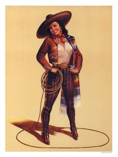 Vintage Mexicans Pin Up Girls | AP053H - Pin Up Girl, Mexican Cowgirl (30x40cm Art Print)