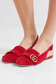 Slight heel Red suede Buckle-fastening slingback strap Designer color: Hibiscus Made in Italy