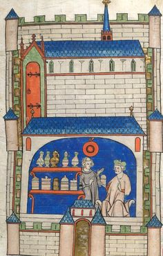 A medieval apothecary shop (Amiens, century): such amazing detail British Library Sloane MS f. Medieval Life, Medieval Art, Medieval Manuscript, Illuminated Manuscript, Voynich Manuscript, British History, Art History, European History, Renaissance