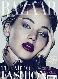Jennifer Lawrence gives good pout on the subscriber's cover of Harper's Bazaar UK!