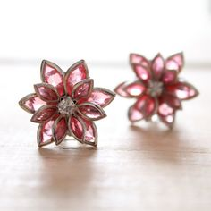 Plugs Size 4g 2g 0g 00g and UP Vintage Inspired Pink Rhinestone Flower Gauges Size 4 2 0 00 Bridal Wedding Wear