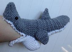 These look awesome! WOMENS+Crochet+Shark+Slipper+Socks+FREE+by+PinkPoppyShoppe+on+Etsy,+$35.00