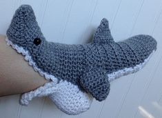 WOMENS Crochet Shark Slipper Socks FREE by PinkPoppyShoppe on Etsy, $37.00