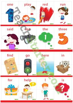 Dolch Sight Word Puzzle with Pictures – Pre-Primer (4 pieces) Teaching Resource