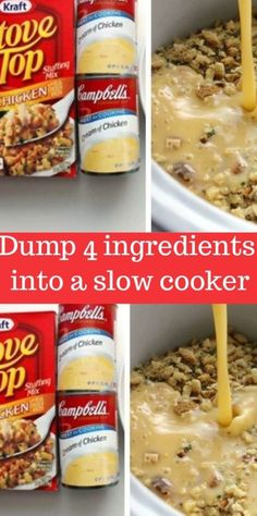 Dump 4 ingredients into a slow cooker. End result is a hearty, tasty chicken and stuffing! – 11 Points Meals Dump 4 ingredients into a slow cooker. End result is a hearty, tasty chicken and stuffing! Crockpot Dump Recipes, Crockpot Dishes, Ww Recipes, Cooking Recipes, Chicken Recipes, Tasty Slow Cooker Recipes, Recipes Dinner, Crock Pot Dump Meals, Recipies
