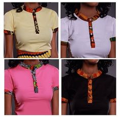 Incorporating african print into everyday casual clothing African Blouses, African Tops, African Dresses For Women, African Attire, African Wear, African Women, African Fashion Ankara, Ghanaian Fashion, African Inspired Fashion