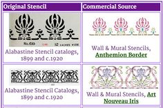 Extensive list of early 1900s stencil designs and websites where you can still buy them consolidated at Laurelhurst Craftsman blog.