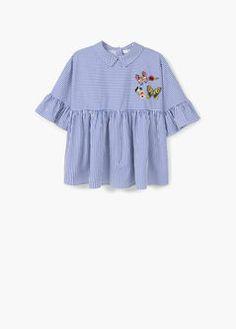 Striped poplin blouse