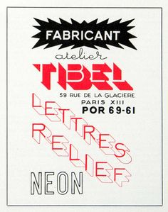 1955 Ad Tibel Relief Lettering Neon 59 Rue Glaciere French Font Typography VEN6