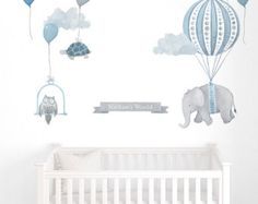Elephant in Basket  Fabric Wall Decal  Nursery Daydreams