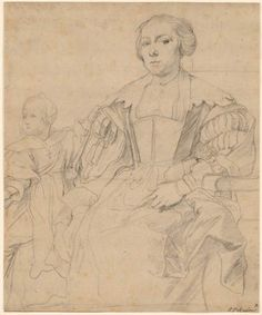 Anthony van Dyck Study of Anna van Thielen and her Daughter Anna Maria Rombouts, I, 244 Anthony Van Dyck, Morgan Library, Anna Marias, Old Master, Antwerp, 17th Century, Daughter, Museum, Ink