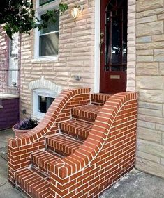 Brick Wall Decor, Brick Projects, Brick Steps, Brick Works, Brick Art, Simple Fireplace, Brick Construction, Diy Crafts For Home Decor, House On Stilts
