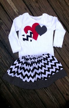 I need to make this for K     Chevron Valentines Skirt and heart shirt set by Madebyjoli on Etsy, $32.00