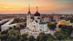 Cathedral of the Annunciation, Voronezh Barcelona Cathedral, Paris Skyline, Taj Mahal, Places To Go, Scenery, Castle, Around The Worlds, Building, Travel