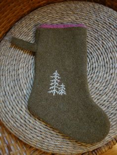 handmade army blanket Christmas stocking with embroidered trees