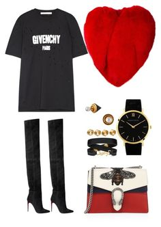 """Untitled #3611"" by fashionhypedaily ❤ liked on Polyvore featuring Yves Saint Laurent, Gucci, Larsson & Jennings, Maison Margiela, Vita Fede, Givenchy and Balmain"