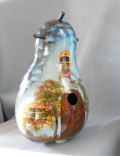 Blue Cottage Bird House Gourd Hand Painted by HouseOfGourds on Etsy