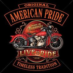 American Pride Live to Ride Adult Unisex Quality Motorcycle Long Sleeve T Shirt 13686