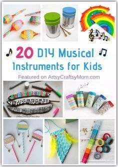 Bring the band alive at your home with these DIY Musical Instruments for Kids to Make and play! And they actually make music, too! via musical instruments 20 DIY Musical Instruments for Kids to Make and Play Music Activities For Kids, Music For Kids, Preschool Music Crafts, Toddler Music, Craft Projects For Kids, Diy For Kids, School Projects, Instrument Craft, Homemade Musical Instruments