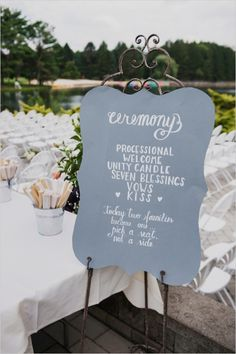 wedding ceremony sign, but add more details about wedding party?