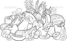 Frutas y verduras para colorear libro - Ilustración de stock: 26368407