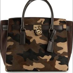 "MK ""Camo"" Tote NWT Multicolor Leather and suede 'Hamilton Traveler' medium satchel from Michael Michael Kors featuring top handles, a detachable shoulder strap, a camouflage print, a concealed zip fastening, multiple interior compartments, a padlock fastening detail and with a gold-tone logo charm. NO TRADES Michael Kors Bags Totes"