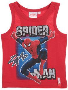 Ultimate Spider-Man Boys Red Striped Spidey Sense Tank Top Sleeveless Shirt