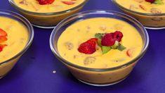 Mango pulp Cake Recipes, Dessert Recipes, Mango Pulp, Pudding, Snacks, Baking, Food, Drinks, Drinking