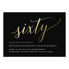 60th birthday invitations formal faux gold