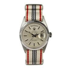 Not typically a fan of Rolex, but 18 kt. White Gold Day-Date, from Taylor Stitch Cool Watches, Rolex Watches, Watches For Men, Vintage Rolex, Vintage Watches, Vintage Men, Vintage Fashion, Gold Rolex, Nato Strap