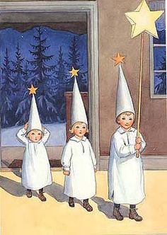 Elsa Beskow illus. (Sweden) I don't know why, but for some reason, I can imagine your mom dressing up Claire and Benjamin like this. I dig it, even if they kinda look like they're junior recruits in some Swedish cult.