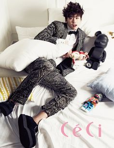 Girls' Generation's Sooyoung and Seohyun, along with actor Lee Jong Suk have taken on the 'sweet' concept for 'CeCi' magazine's March issue. Lee Jong Suk Ceci, Lee Jung Suk, Asian Actors, Korean Actors, Korean Dramas, Kim Young Kwang, Sung Joon, W Two Worlds, Girl Korea