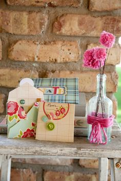 Gift card envelopes with pizzaz.  Follow the link back to October Afternoon's website for complete instructions and additional ideas for decorated envelopes.