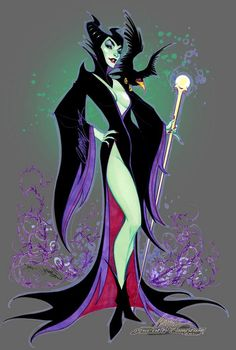 I want this one too.  Maleficent in an Elvira style dress!  By J. Scott Campell