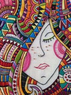 Love this embroidery- Right down to the nose ring! Great shop with fun/bright colored designs.I Dream of Colors Hand Embroidered Art by CapriciousArts on Etsy