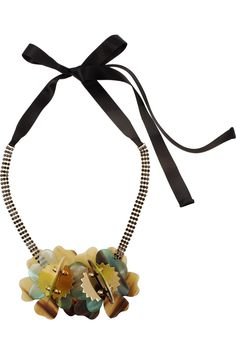 Marni                                  Horn, crystal and brass necklace