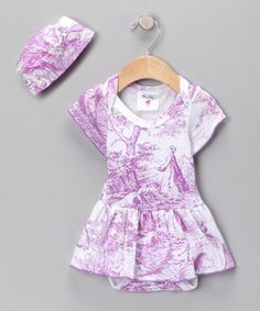 Take a look at this Lavender Lovely Toile Organic Skirted Bodysuit & Beanie - Infant by Mad Sky on #zulily today!