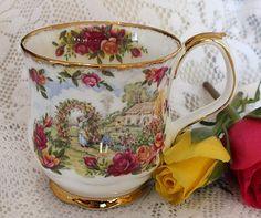 1986 Royal Albert Old Country Roses Celebration Garden Footed Coffee Mug | eBay