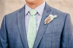 Pomp & Plumage TOFINO Boutonniere in Mint, Blush and Greige on OUR BRIDAL SHOOT: The Week of Stress Before the Wedding